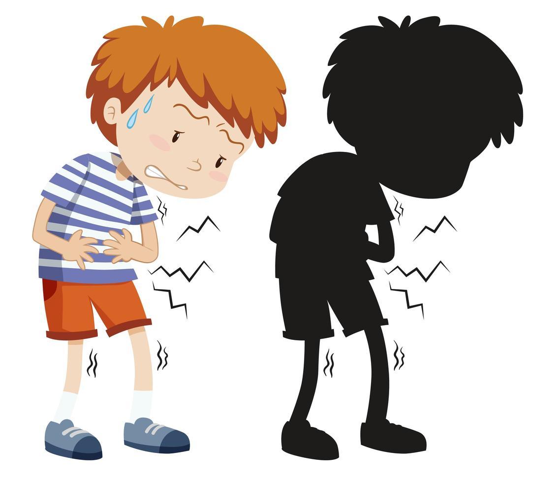 Junge mit Bauchschmerzen in Farbe und Silhouette vektor