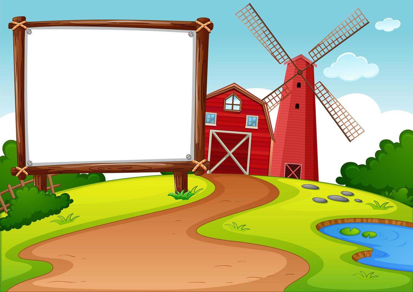 leeres Banner im Bauernhof mit roter Scheune und Windmühlenszene vektor