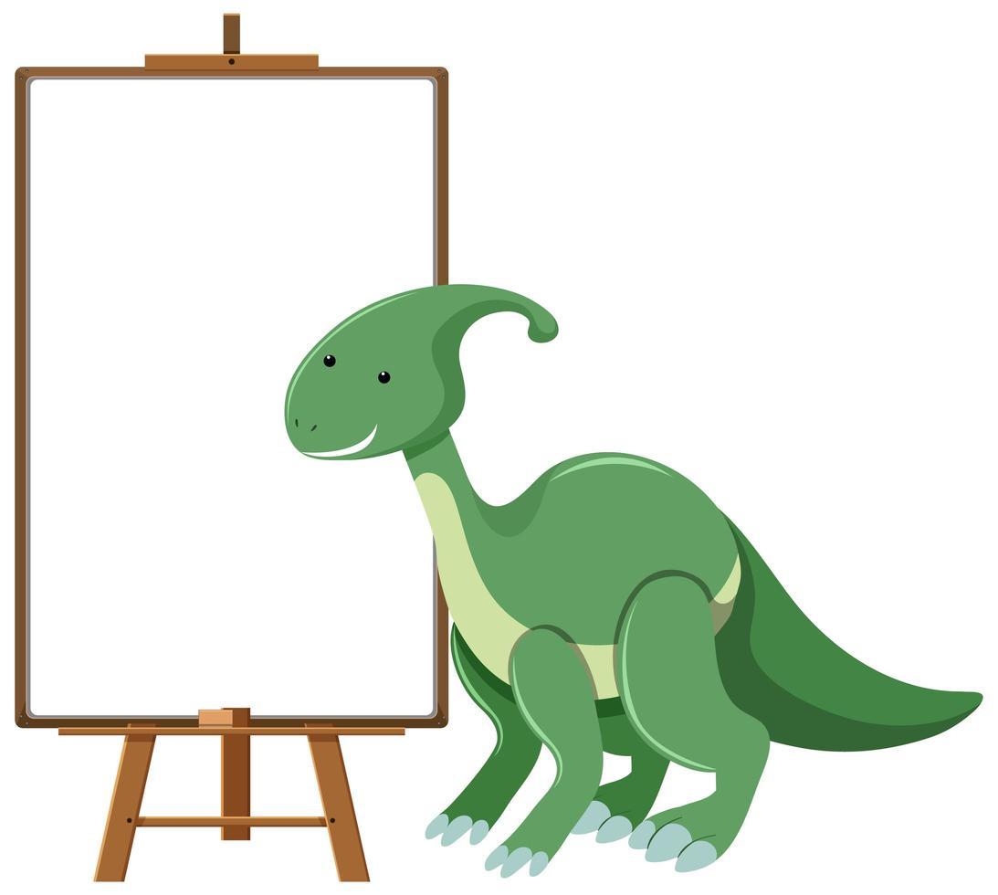 grüner niedlicher Dinosaurier mit leerem Banner lokalisiert auf weißem Hintergrund vektor