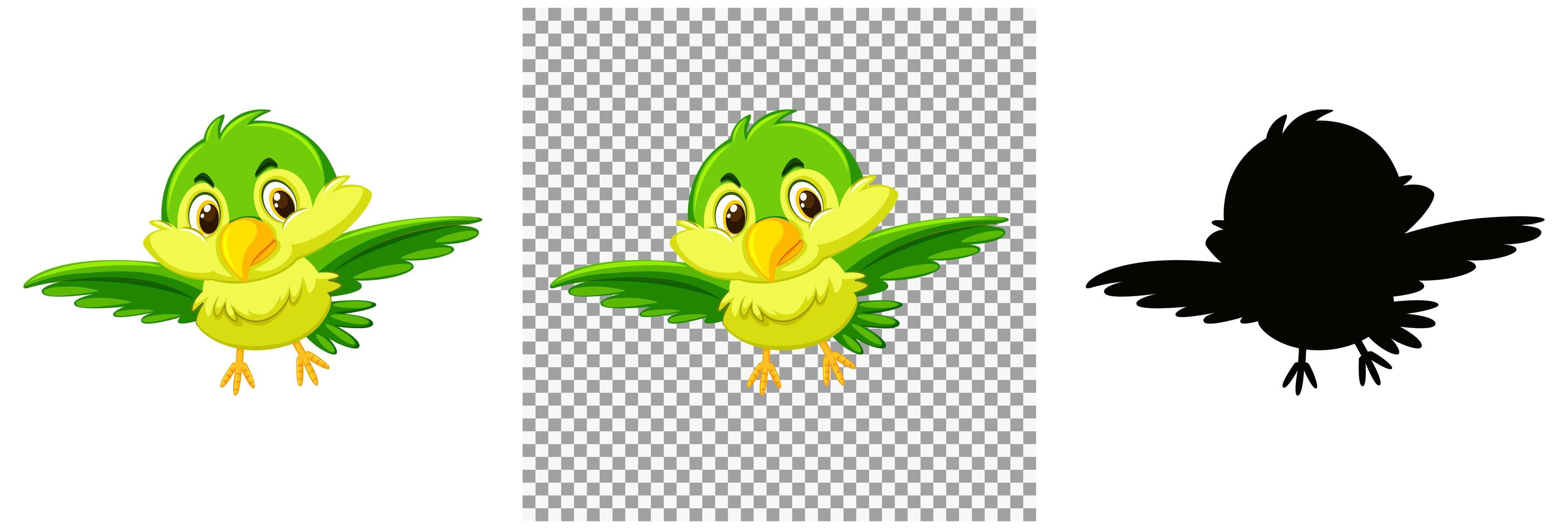 söt grön fågel seriefigur vektor