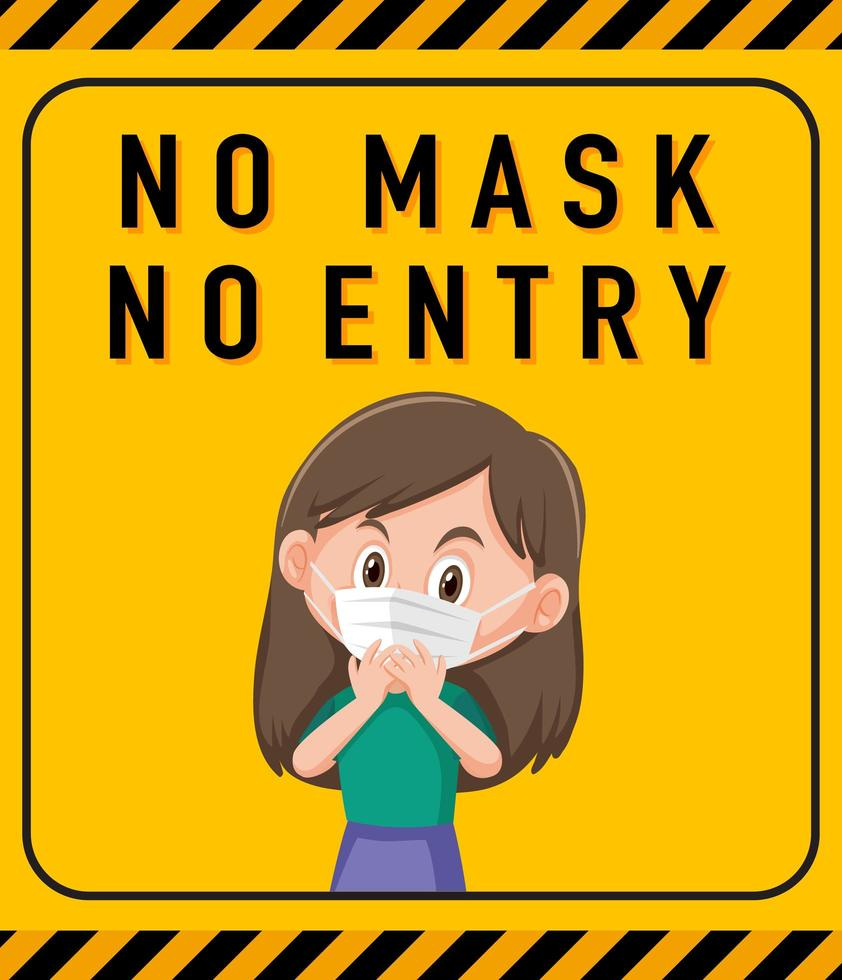 keine Maske kein Eintrittswarnschild mit Zeichentrickfigur vektor