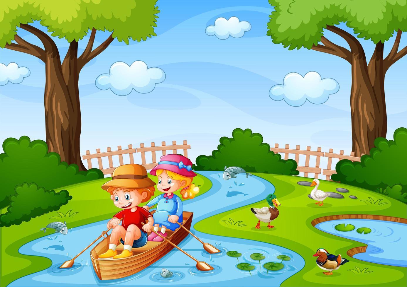 två barn ror båten i bäcken med sina sällskapsdjur vektor