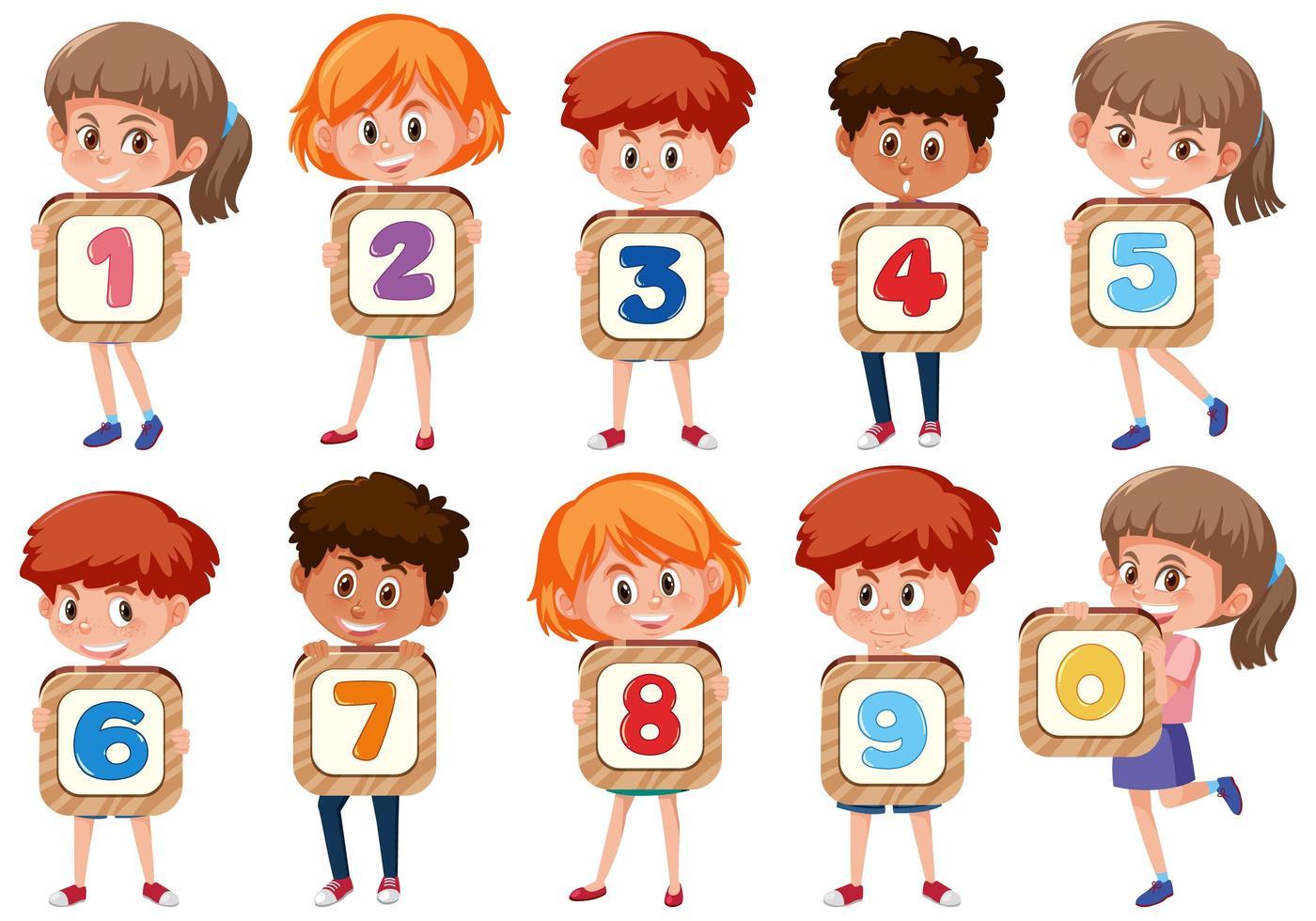 Satz von verschiedenen Kindern, die die Zahlen lokalisiert auf weißem Hintergrund halten vektor