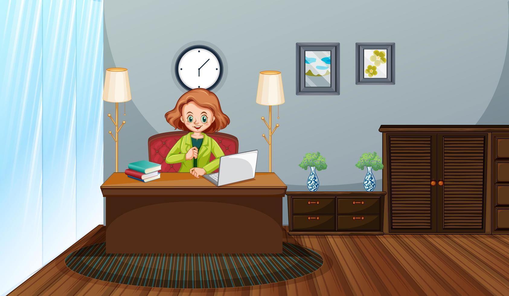 scen med kvinna som arbetar hemma på sin dator vektor