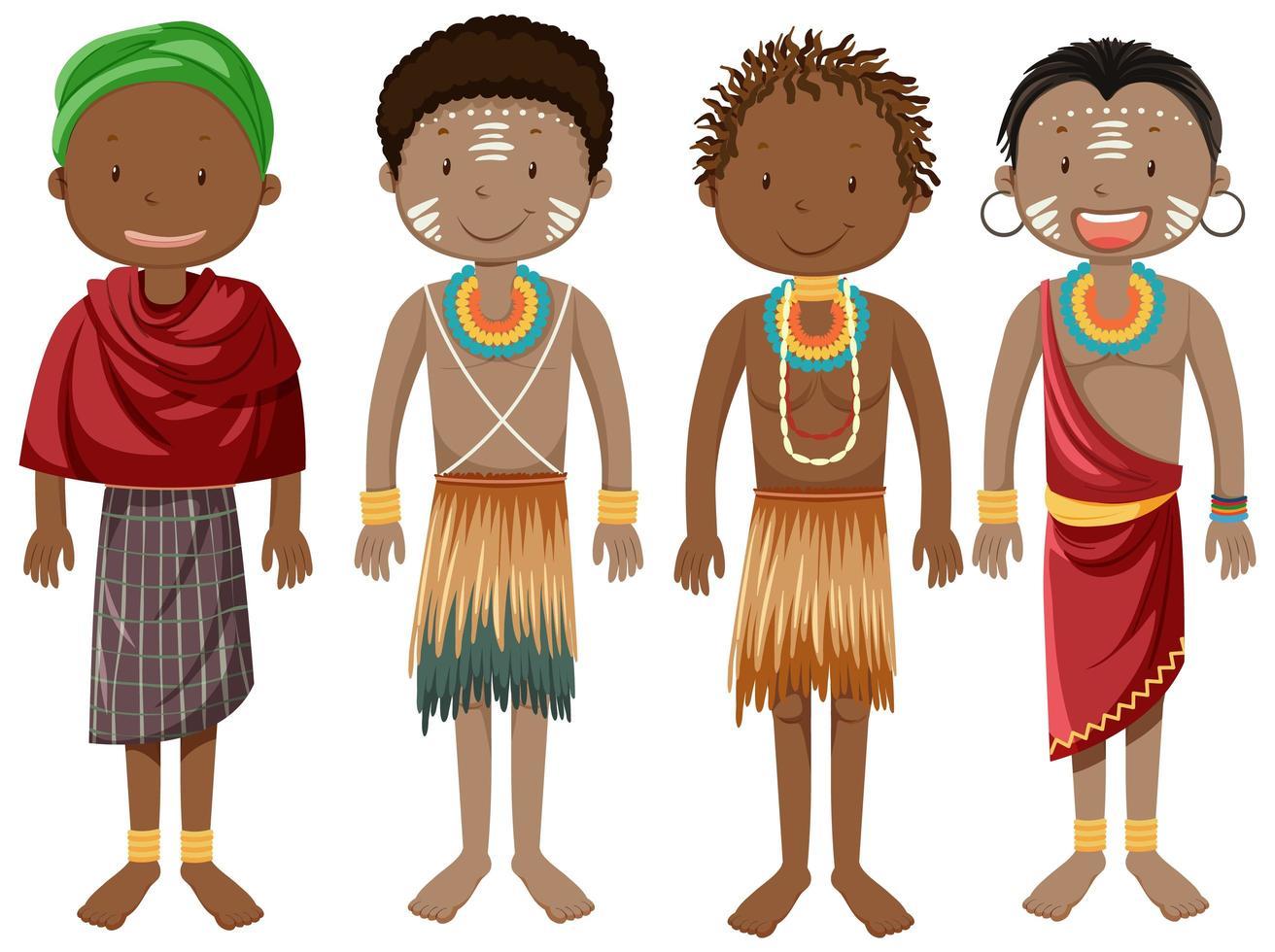 ethnische Leute von afrikanischen Stämmen in traditioneller Kleidung Zeichentrickfigur vektor