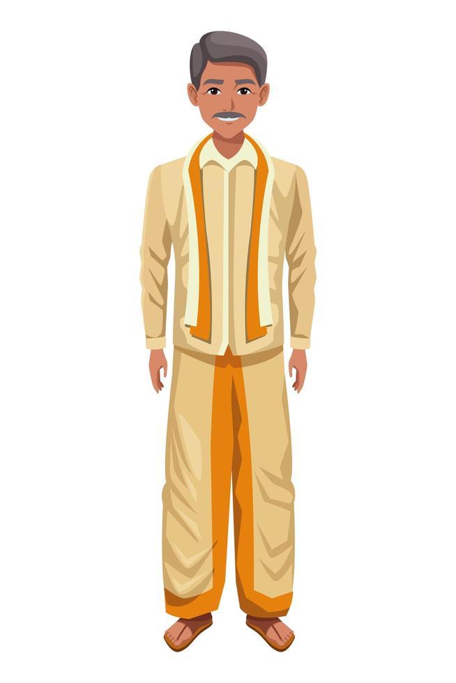 indischer Mann, der traditionelle hinduistische Kleidung trägt vektor