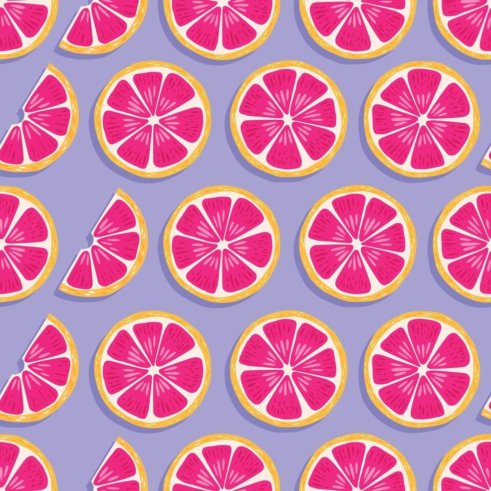 frukt seamless mönster, grapefruktskivor med skugga vektor