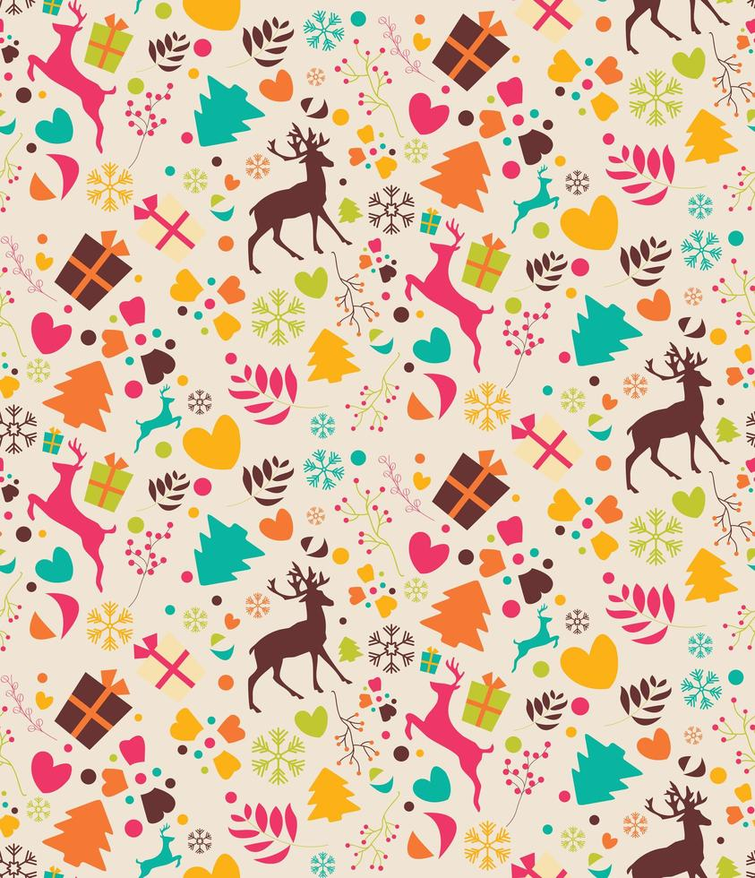 sömlösa mönster med julgranar, renar, presentaskar vektor