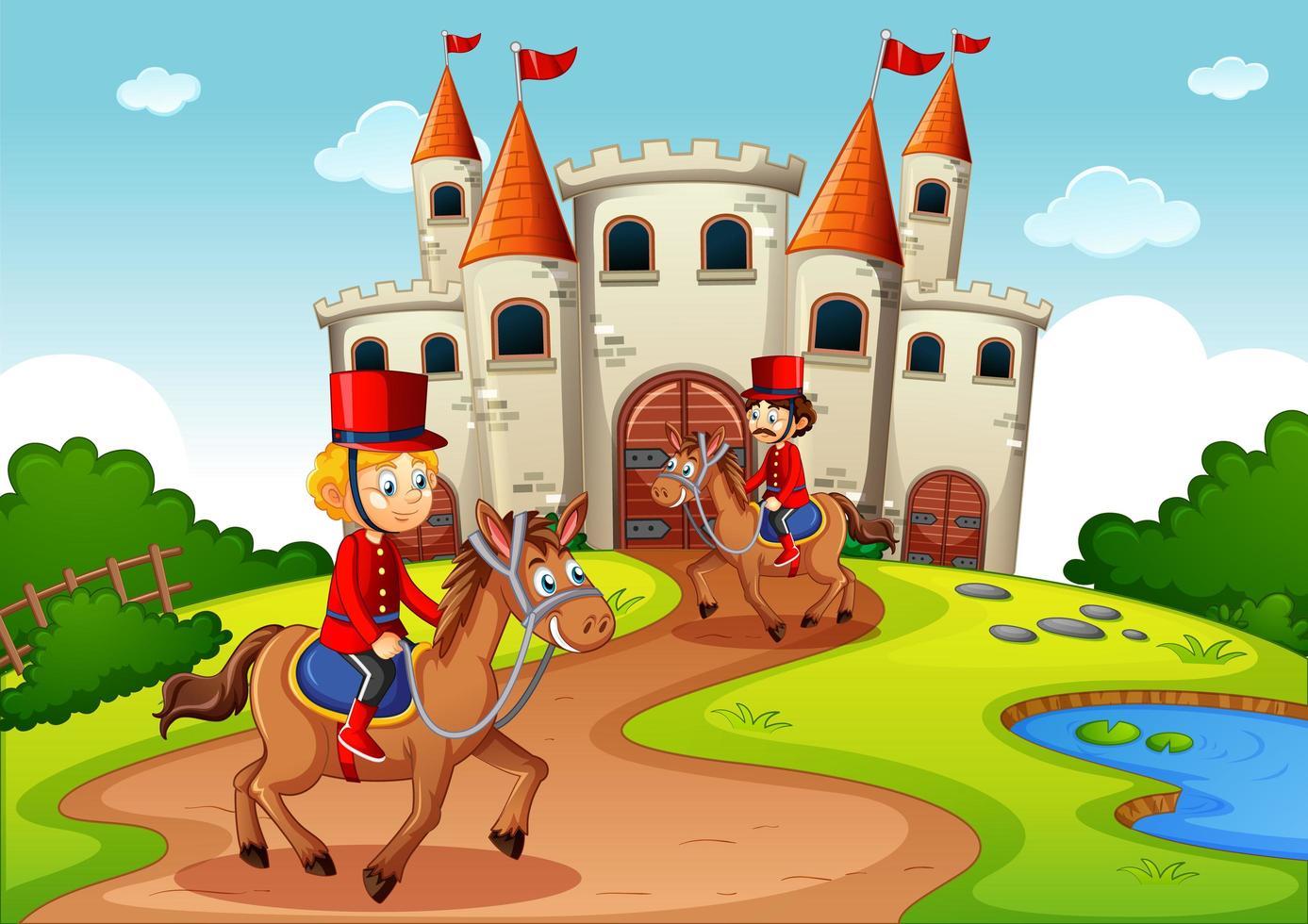 sagoscen med slott och soldats kungliga vaktplats vektor
