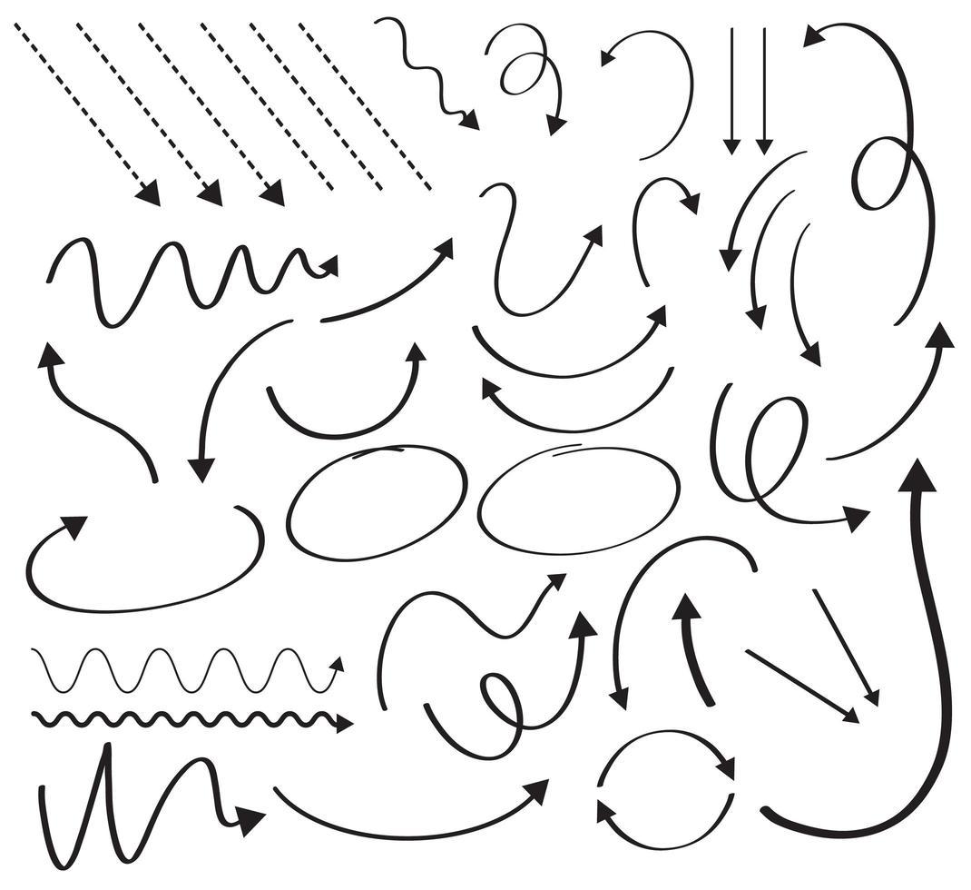 stor uppsättning pildesign med olika kurvor vektor