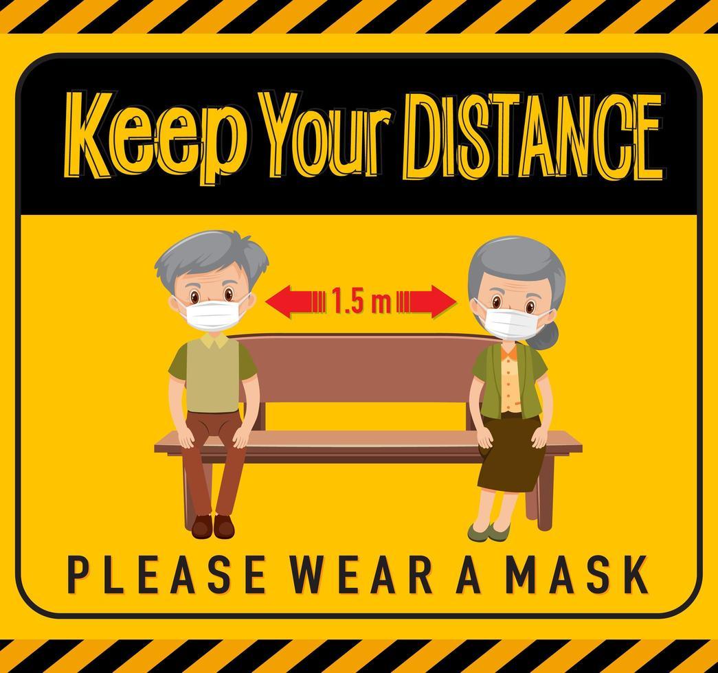 håll ditt avstånd eller sociala distansering tecken med barn seriefigurer vektor
