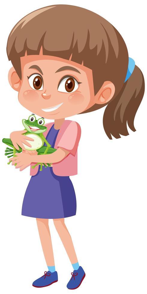 flicka som håller söt djur seriefigur isolerad på vit bakgrund vektor