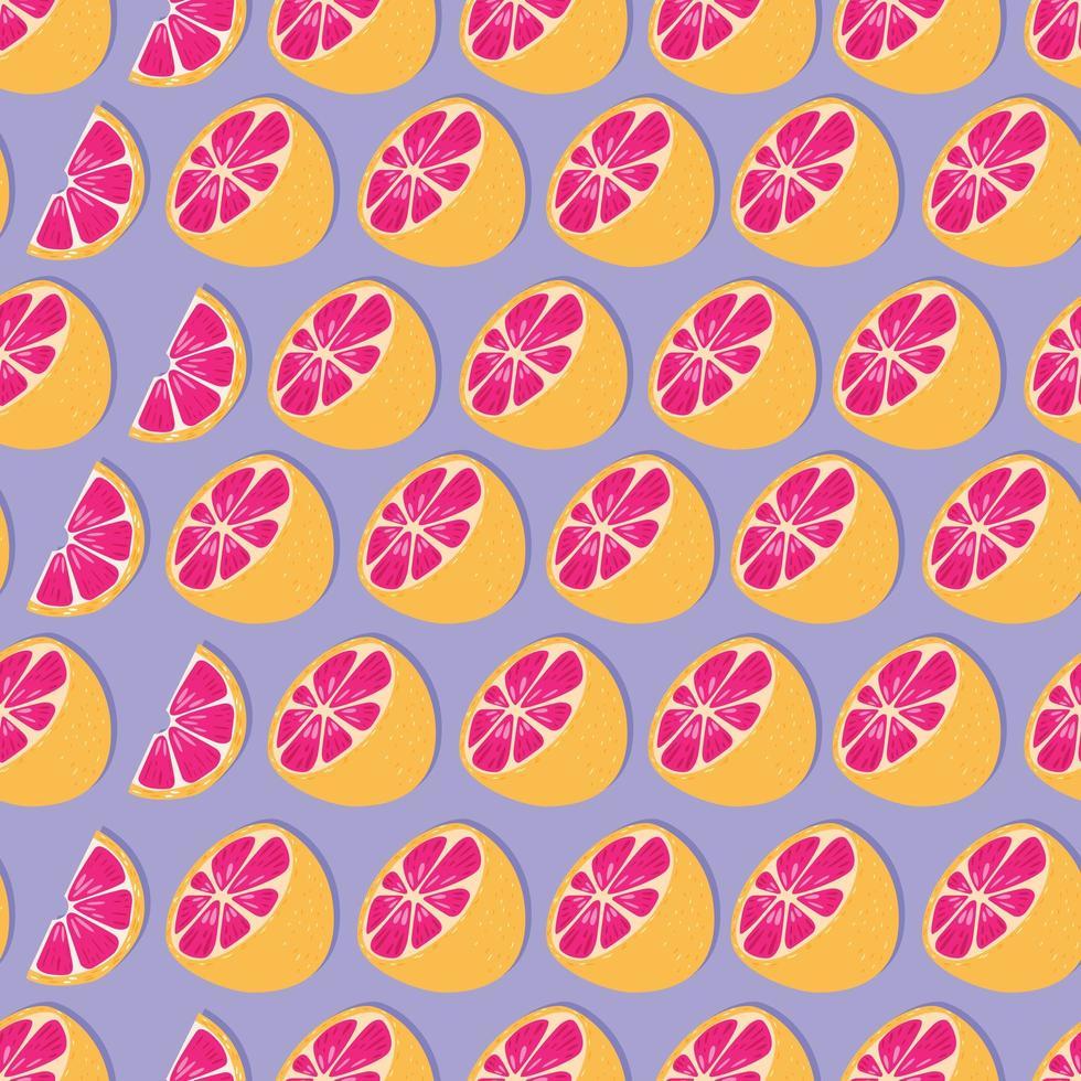 Frucht nahtloses Muster, Grapefruithälften und -scheiben vektor