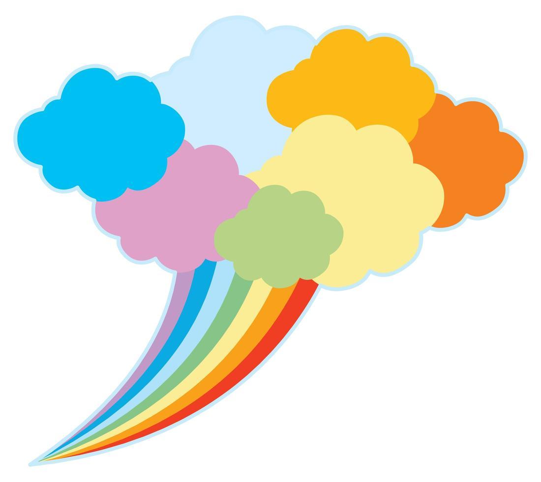 färgglada tal moln och regnbåge vektor