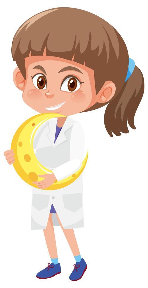 Kinder in Wissenschaftler Kostüm Cartoon Figur isoliert auf weißem Hintergrund vektor