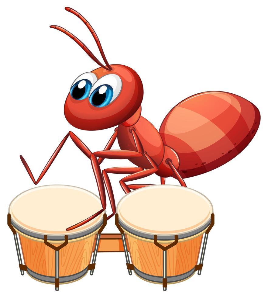 Musiker Ameise spielt Trommel vektor