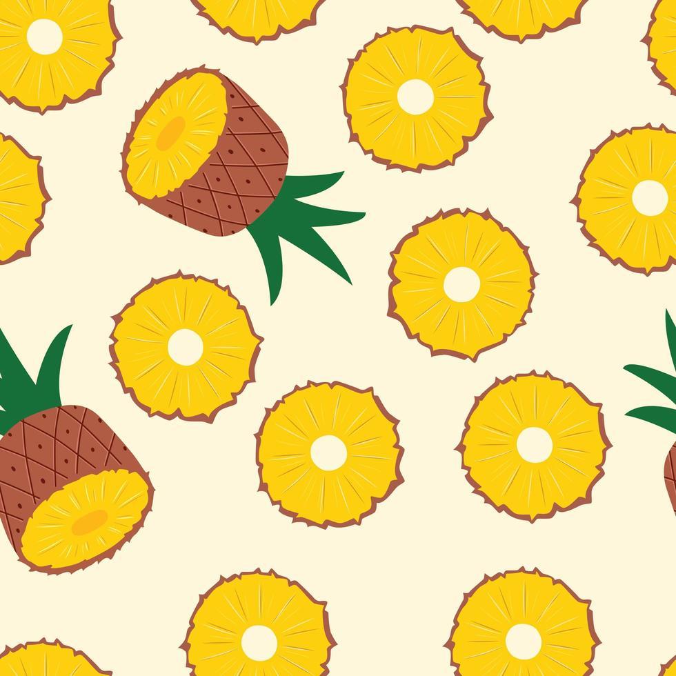 ananashalvor och skivor på ljusgul bakgrund. vektor