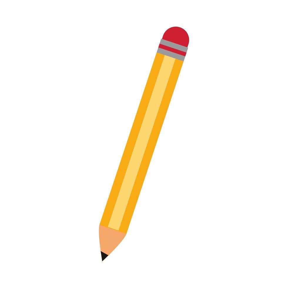 Bleistift mit Radiergummi Schulsymbol isoliert vektor