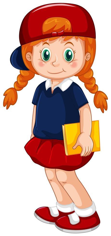 röd hår flicka håller bok vektor