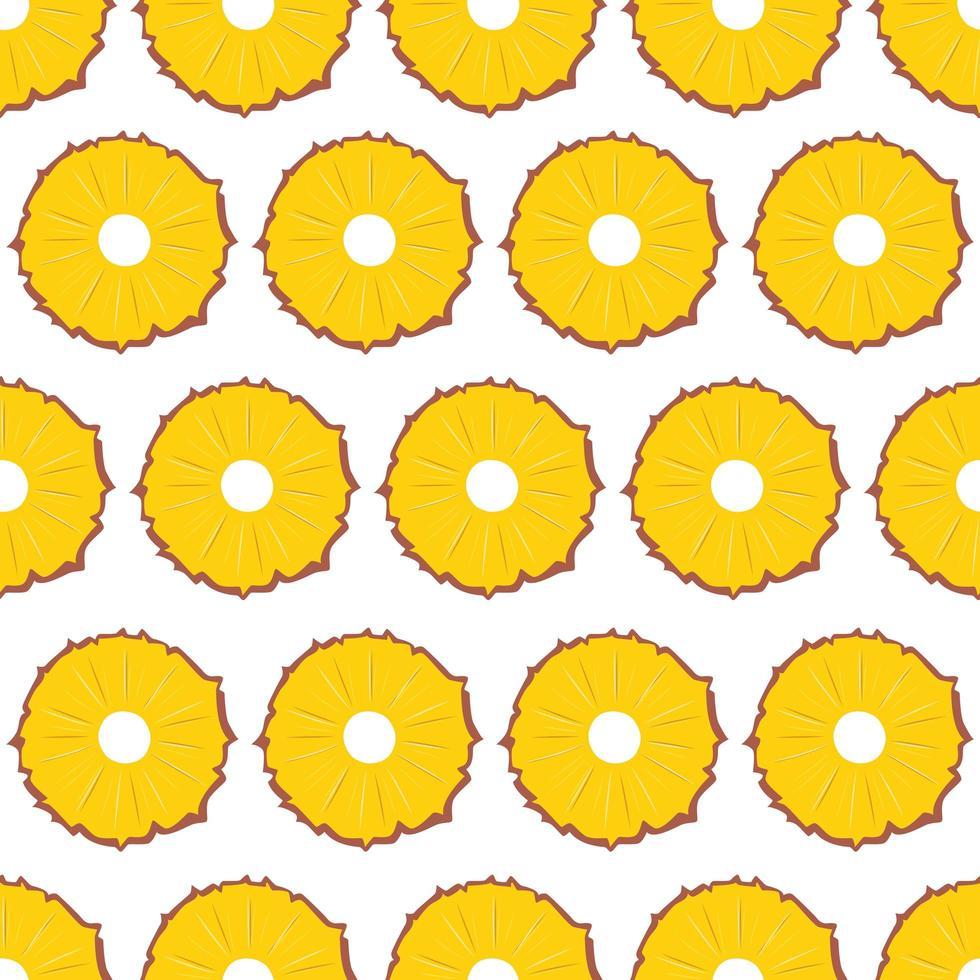 frukt seamless mönster, ananasskivor på vit bakgrund. vektor