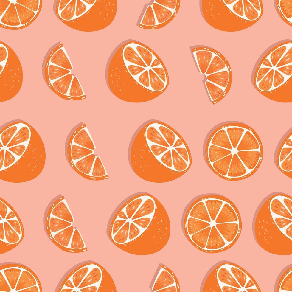 frukt sömlösa mönster, orange halvor och skivor vektor