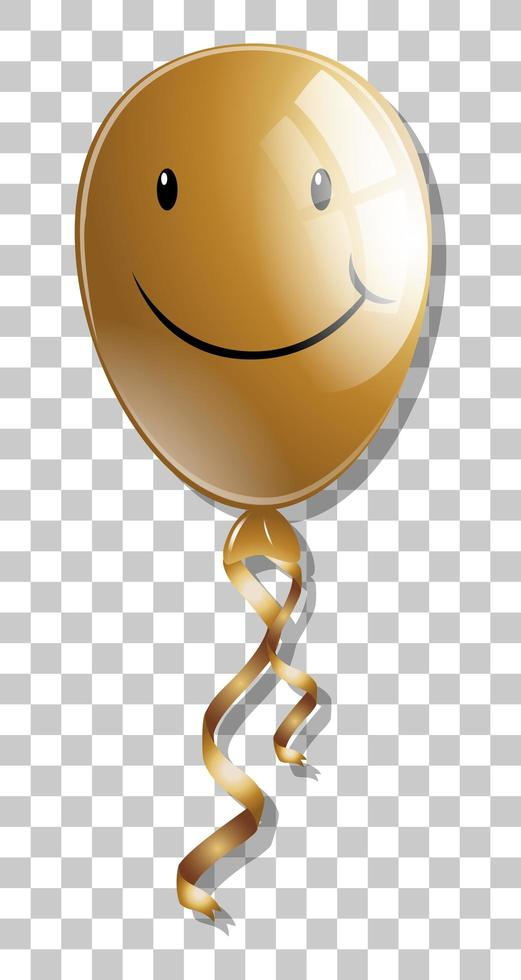 Lächeln auf goldenem Ballon lokalisiert auf transparentem Hintergrund vektor