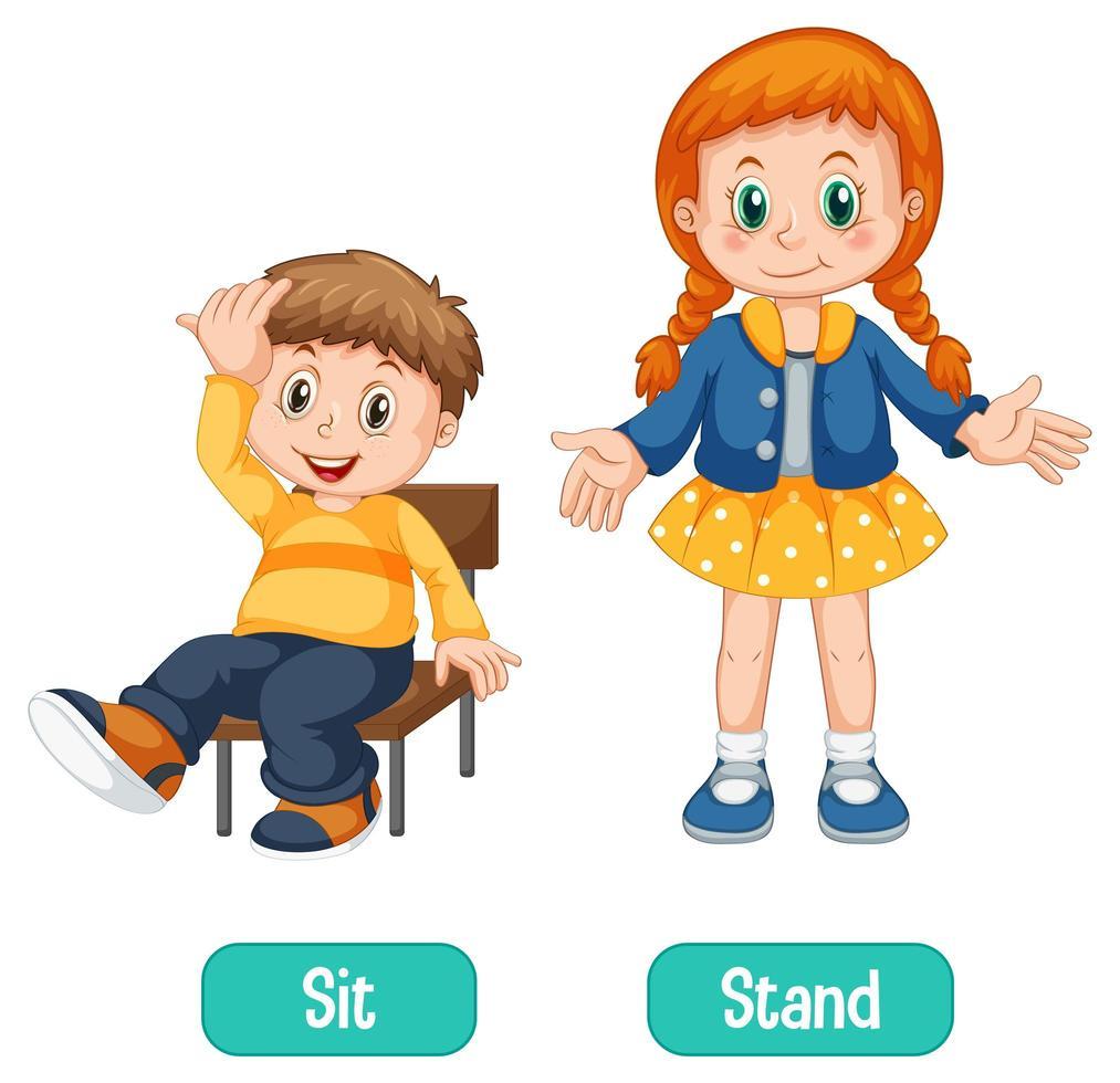 entgegengesetzte Wörter mit sitzen und stehen vektor