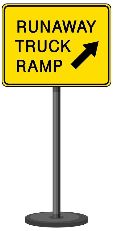 außer Kontrolle geratenes LKW-Rampenwarnzeichen lokalisiert auf weißem Hintergrund vektor