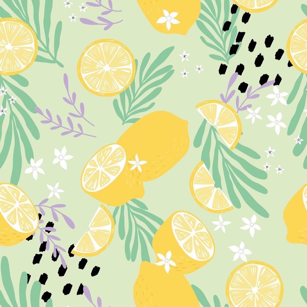 Frucht nahtloses Muster, Zitronen mit tropischen Blättern vektor