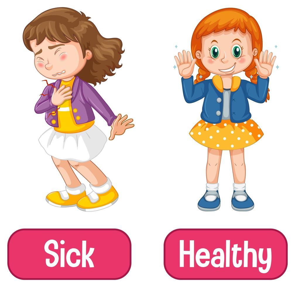 motsatta adjektiv ord med sjuka och friska vektor
