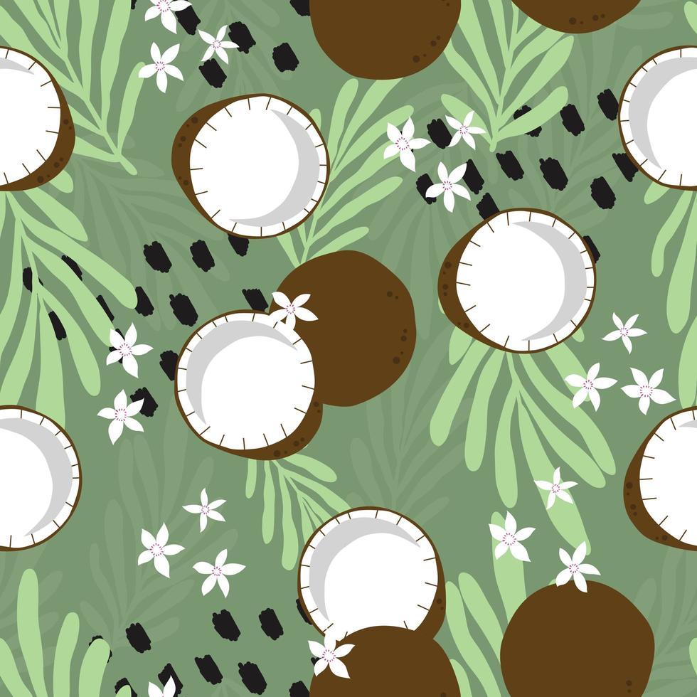 Kokosnuss mit tropischen Blättern auf grünem Hintergrund. vektor