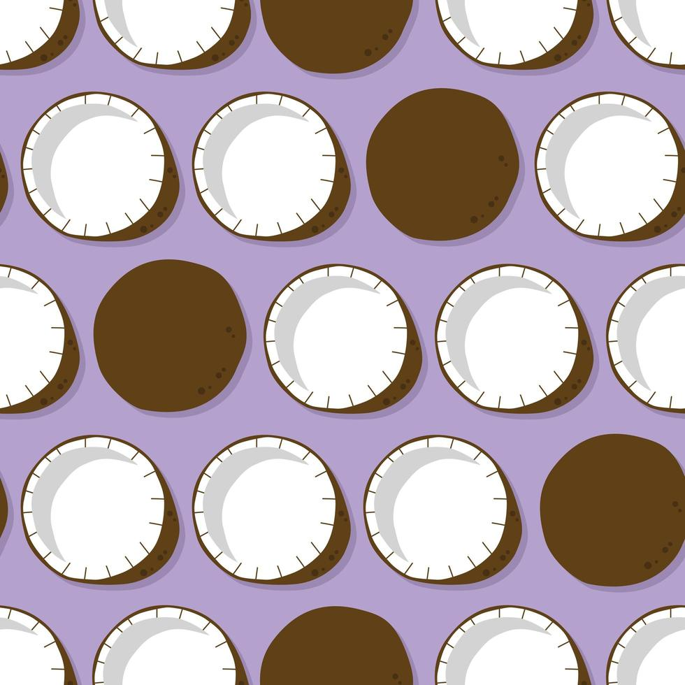 Kokosnuss mit Schatten auf lila Hintergrund. vektor