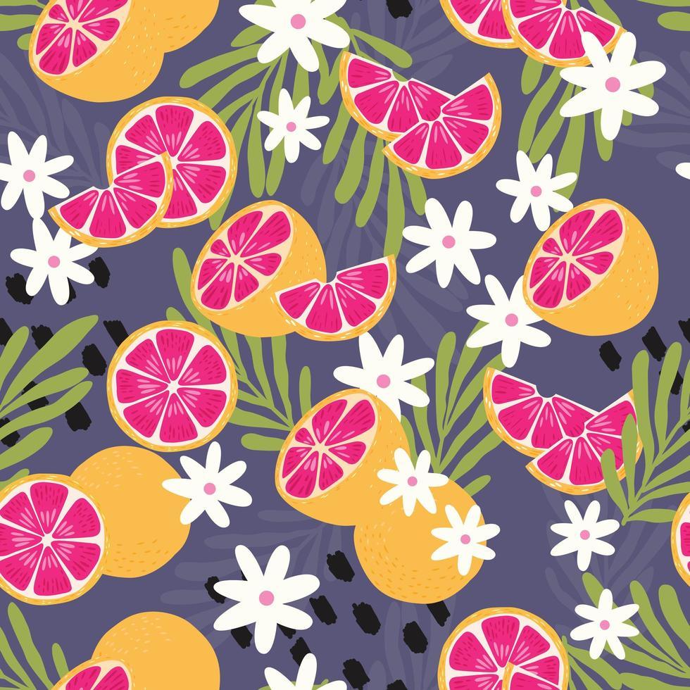 Frucht nahtloses Muster, Grapefruit mit tropischen Blättern vektor