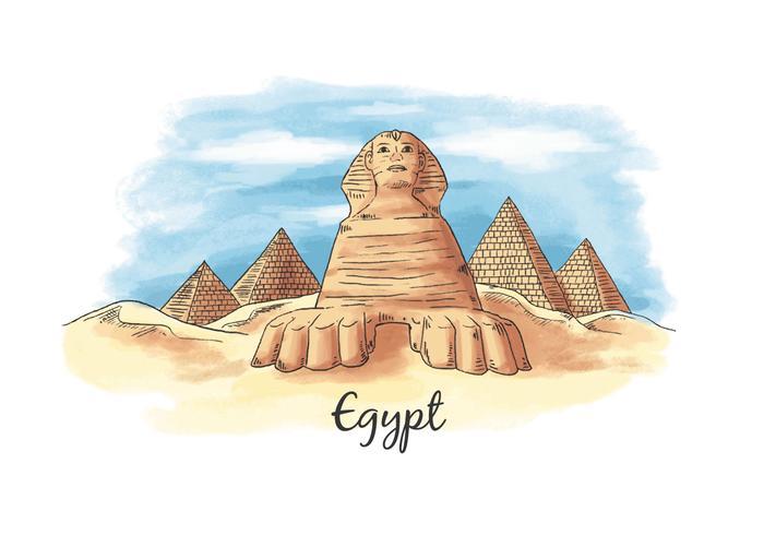 Akvarell Monument Antika Egypten från Egypten vektor