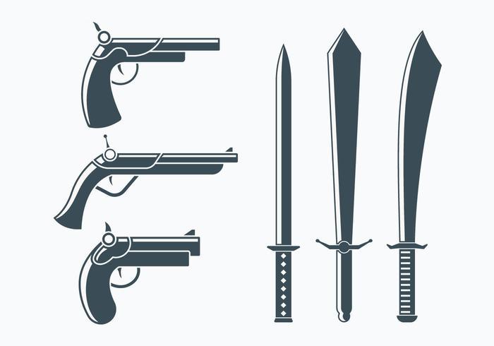 Musketierwaffensammlung vektor