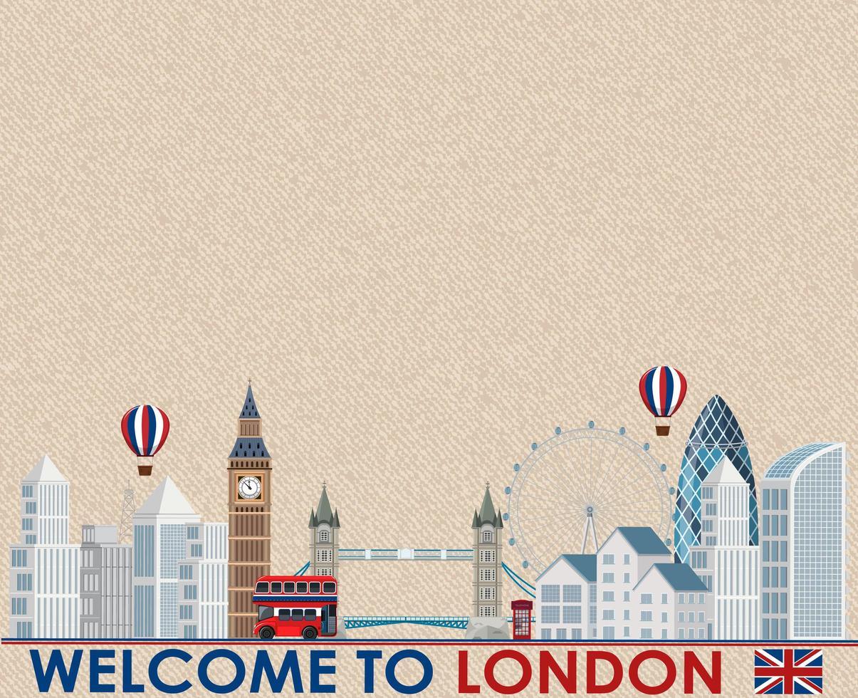 leere Weinlesepostkarte mit Wahrzeichen von London vektor
