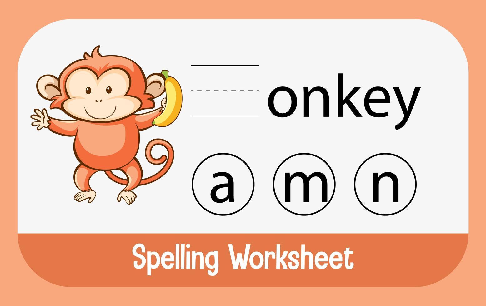 Finde den fehlenden Brief mit dem Affen vektor