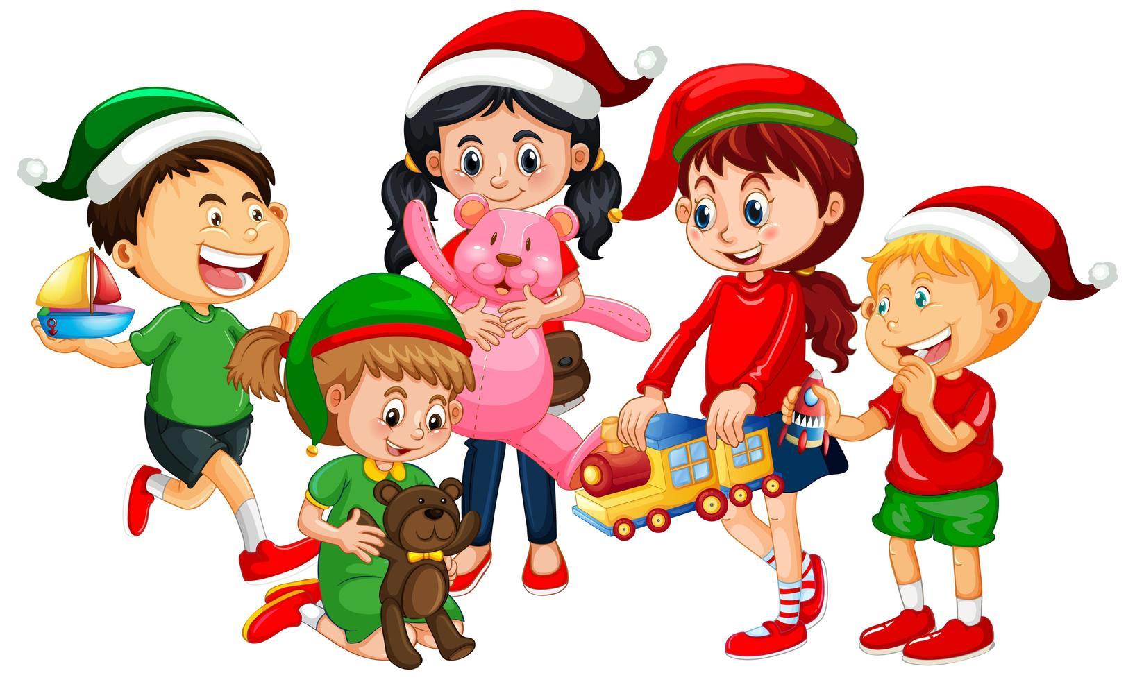 verschiedene Kinder, die Kostüm im Weihnachtsthema tragen und mit ihren Spielzeugen lokalisiert auf weißem Hintergrund spielen vektor