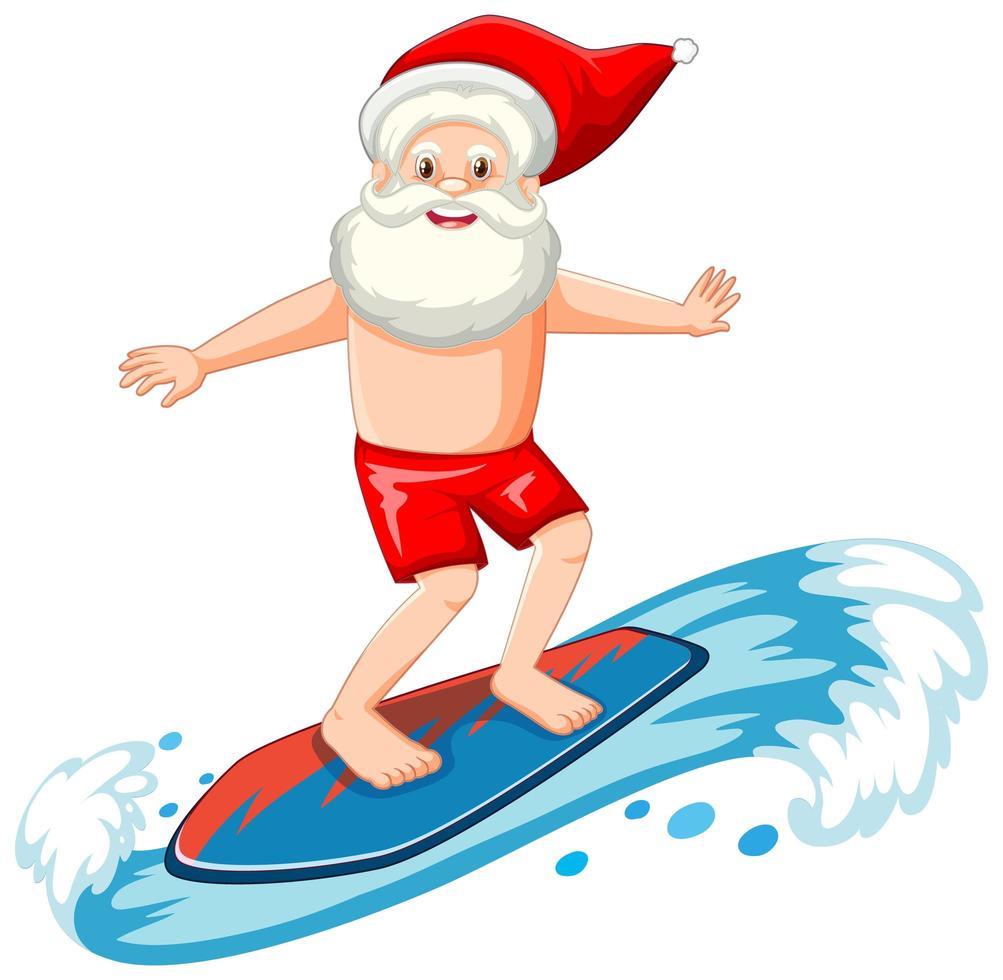 Weihnachtsmann, der im Sommerthema auf weißem Hintergrund surft vektor