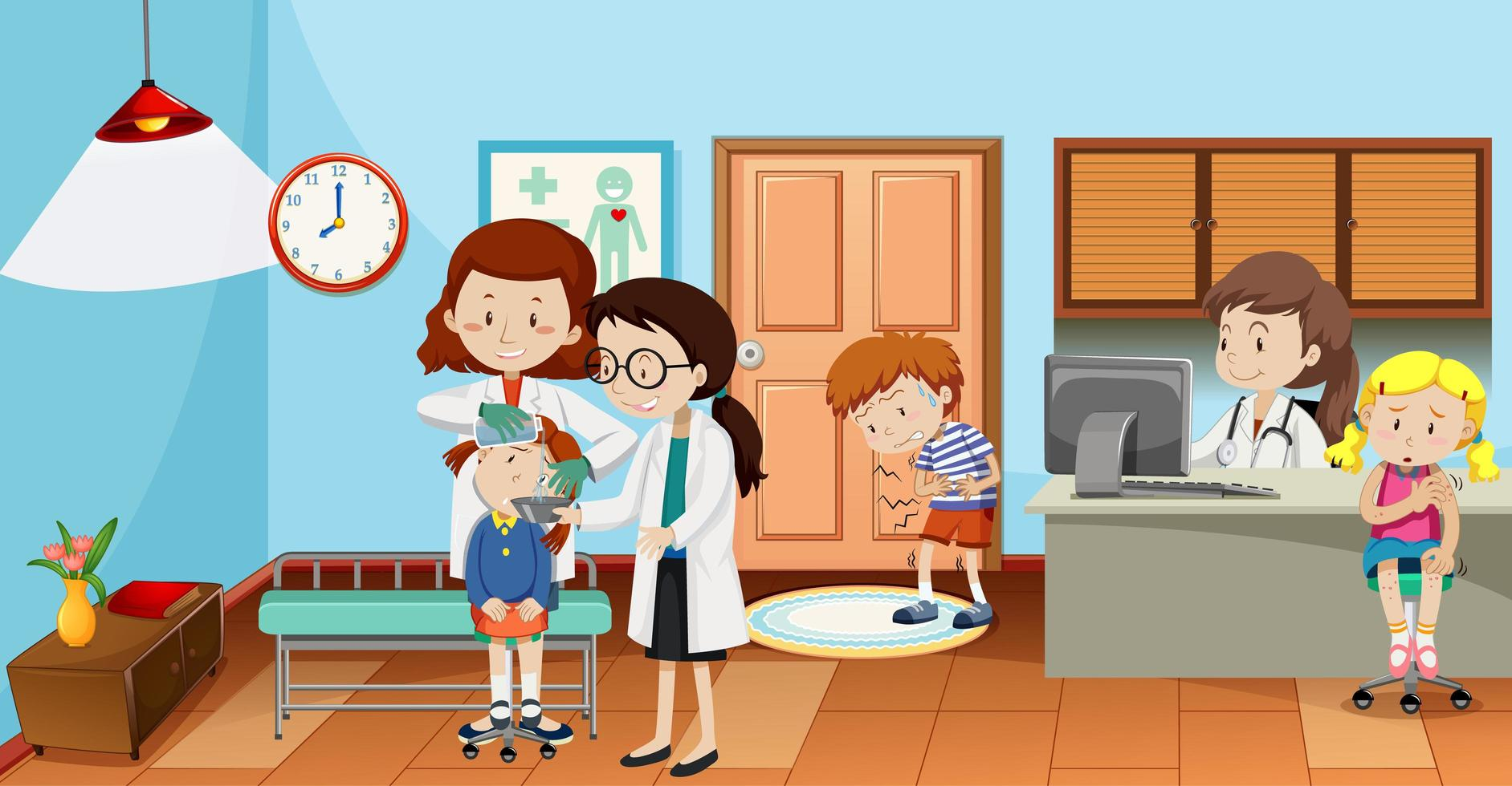 Kinder im Krankenhaus mit Arztszene vektor