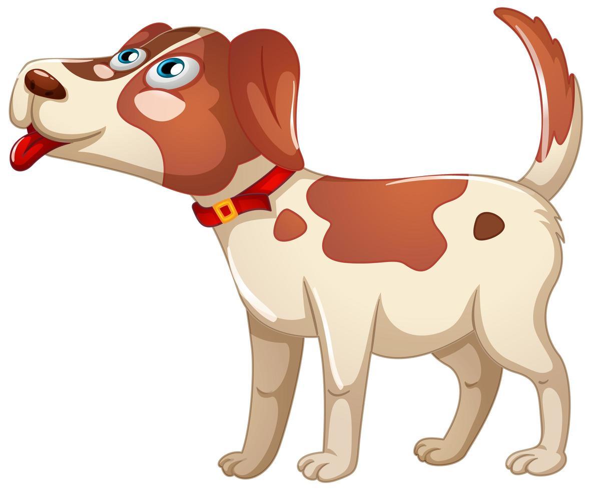 en söt hund med glad tecknad karaktär på vit bakgrund vektor