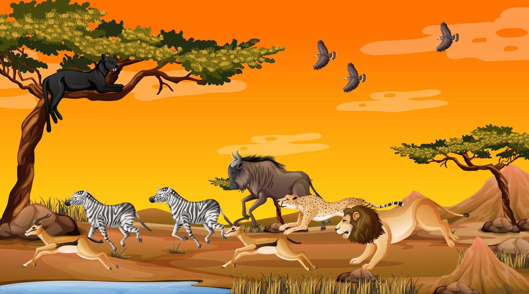 grupp av vilda afrikanska djur i skogen scen vektor
