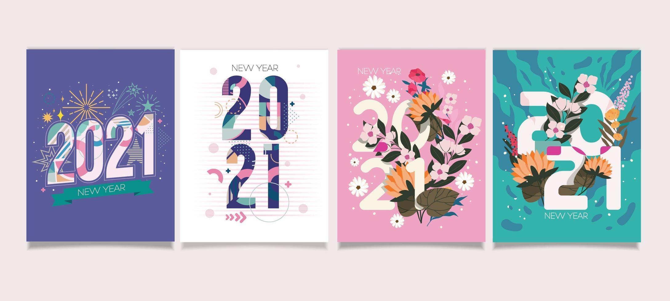 2021 nyårskort med vacker färgpastell vektor