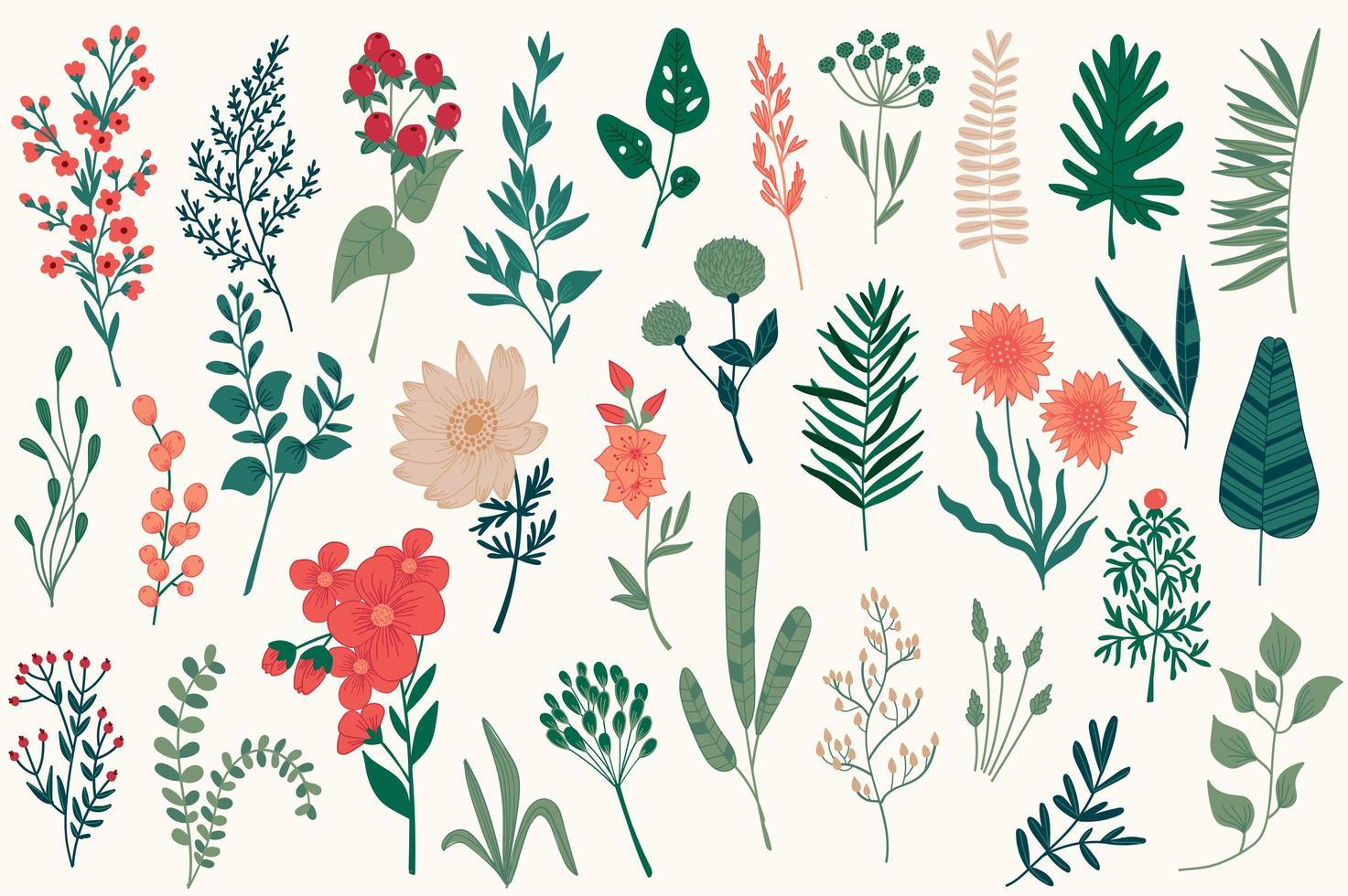 handgezeichnete Blumendekorationen für Weihnachten vektor