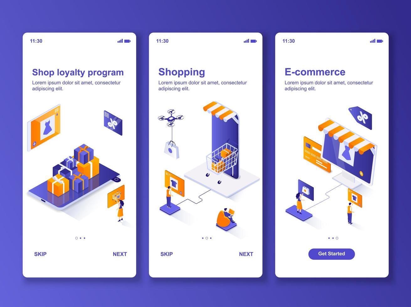 Online-Shopping isometrische GUI Design Kit vektor