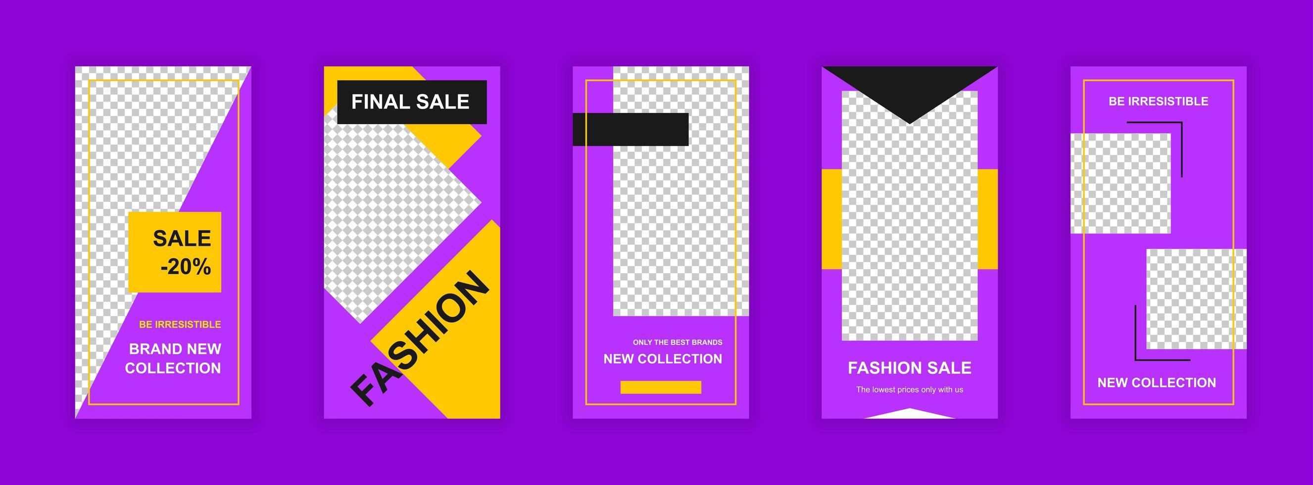 Bearbeitbare Vorlagen für den Modeverkauf für Social-Media-Geschichten vektor