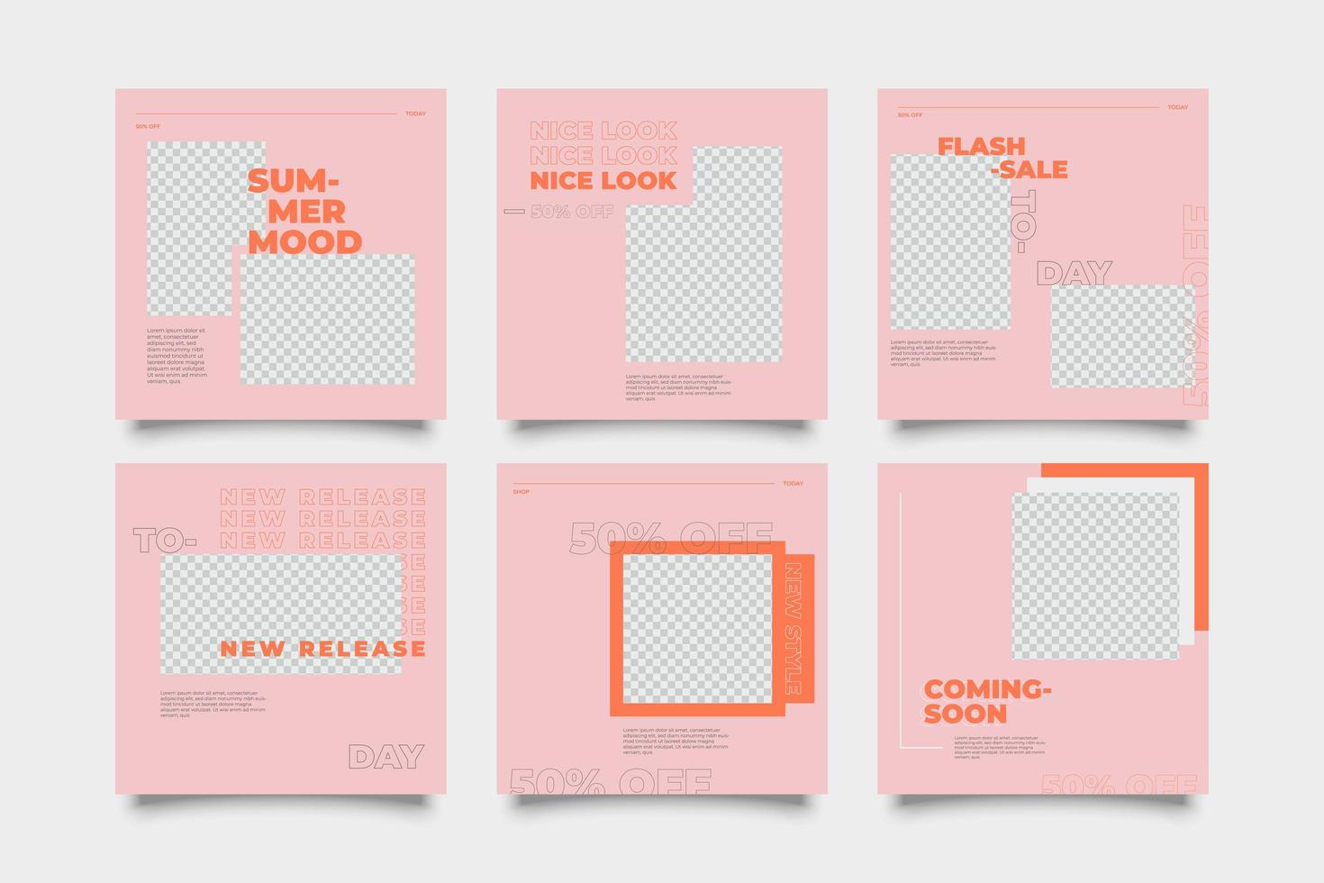 rosa und orange Werbe Social Media Post Vorlage vektor