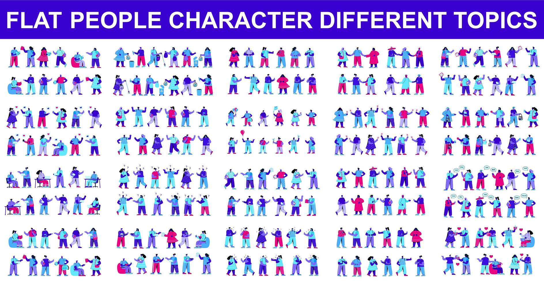 bunt av platta karaktärer gör olika saker vektor
