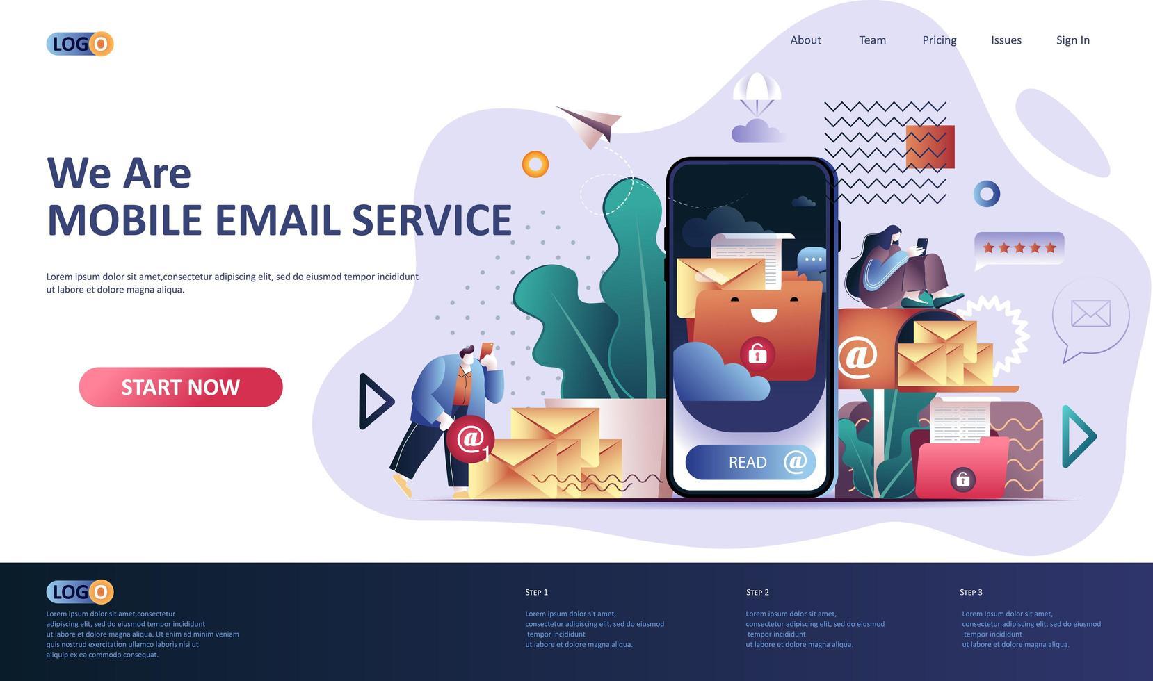 Mobile E-Mail-Service flache Landingpage-Vorlage vektor