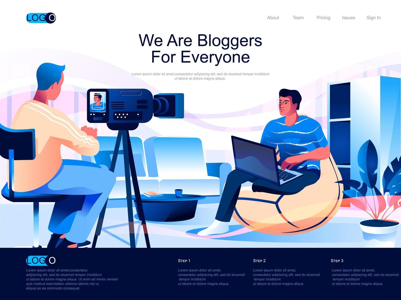 Wir sind Blogger für alle Zielseiten vektor